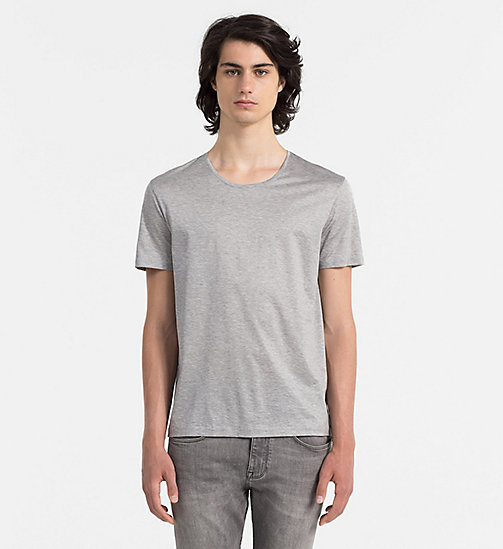 Mercerised Cotton T-shirt - MEDIUM GREY HEATHER - CALVIN KLEIN  - main image