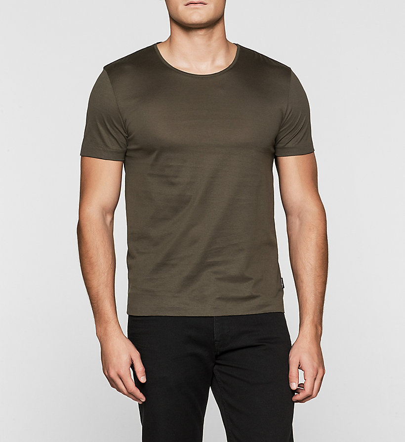 CALVINKLEIN Mercerised Cotton T-shirt - BLACK OLIVE - CALVIN KLEIN CLOTHES - main image