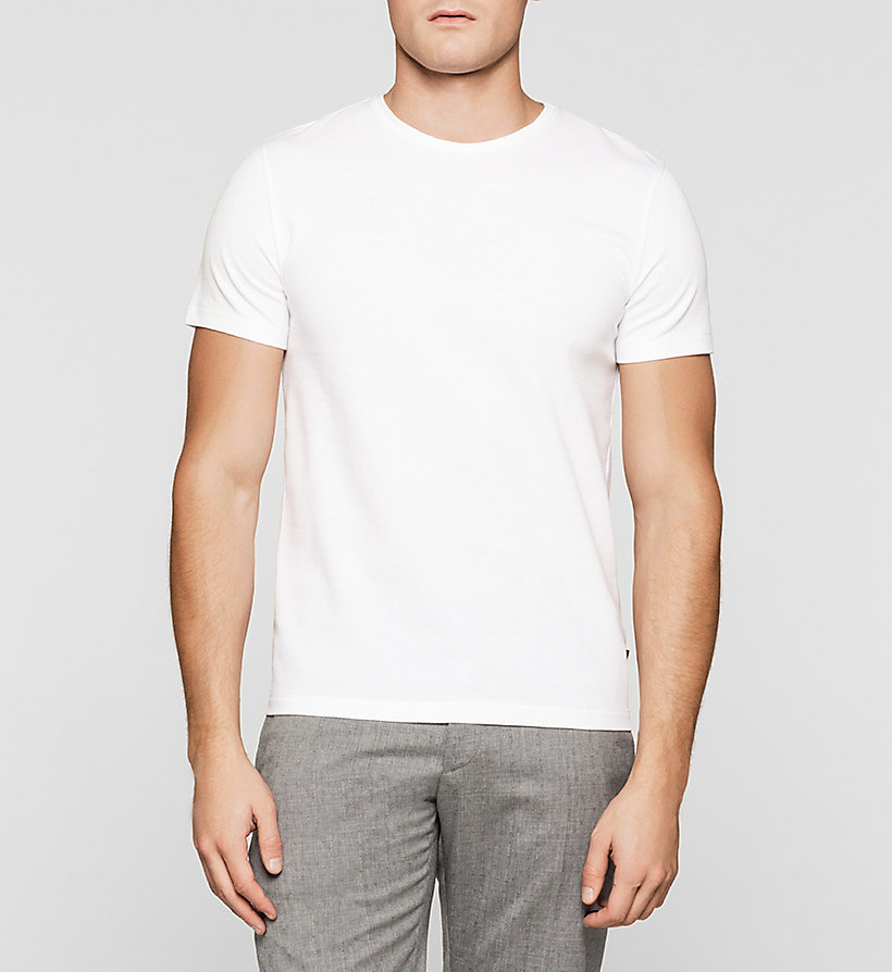 CALVINKLEIN Fitted Mesh T-shirt - PERFECT WHITE - CALVIN KLEIN T-SHIRTS - main image