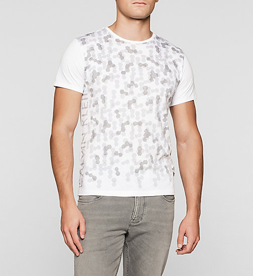 Fitted Hexagon Print T-shirt - PERFECT WHITE - CALVIN KLEIN CLOTHES - main image