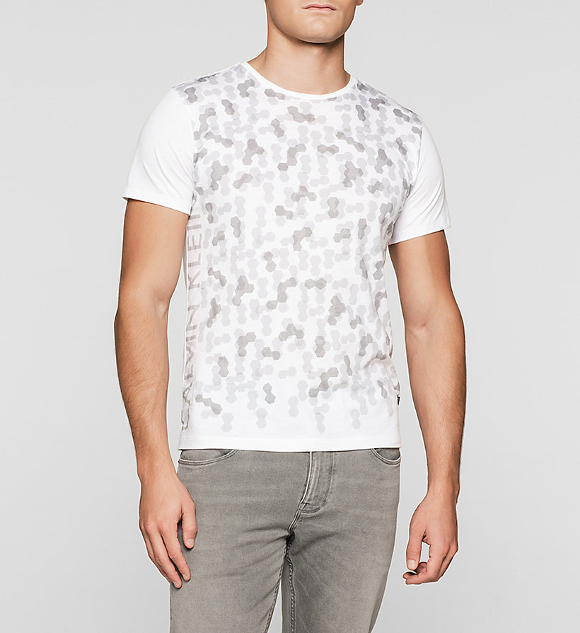 CALVINKLEIN Fitted Hexagon Print T-shirt - PERFECT WHITE - CALVIN KLEIN CLOTHES - main image