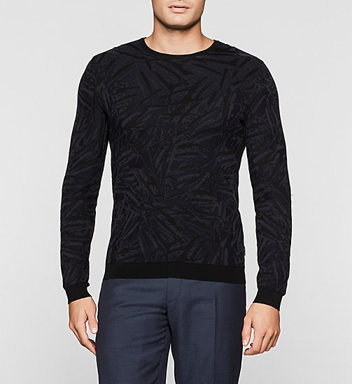CKJEANS Jacquard Knit Sweater - PERFECT BLACK - CALVIN KLEIN JUMPERS - main image