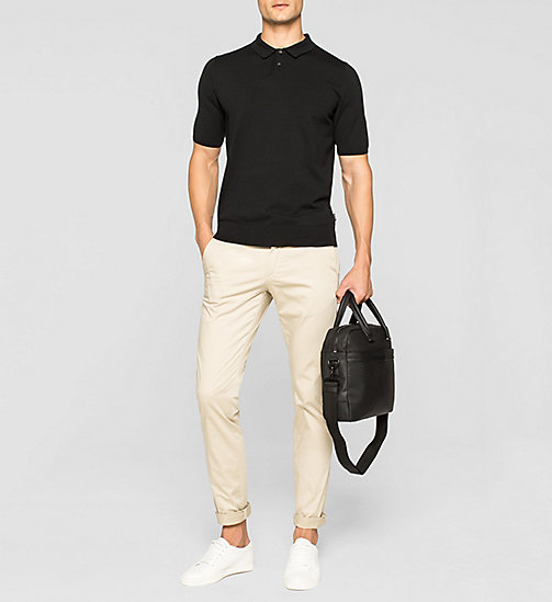 Luxury Cotton Knit Polo Shirt - PERFECT BLACK - CALVIN KLEIN JUMPERS - detail image 1