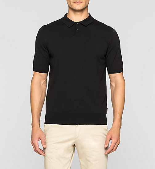 Luxury Cotton Knit Polo Shirt - PERFECT BLACK - CALVIN KLEIN JUMPERS - main image
