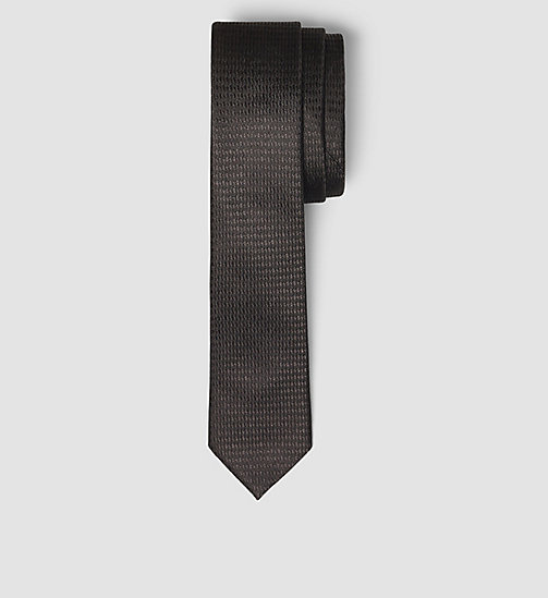 CALVINKLEIN Slim Silk Tie - PERFECT BLACK - CALVIN KLEIN VIP SALE MEN - main image