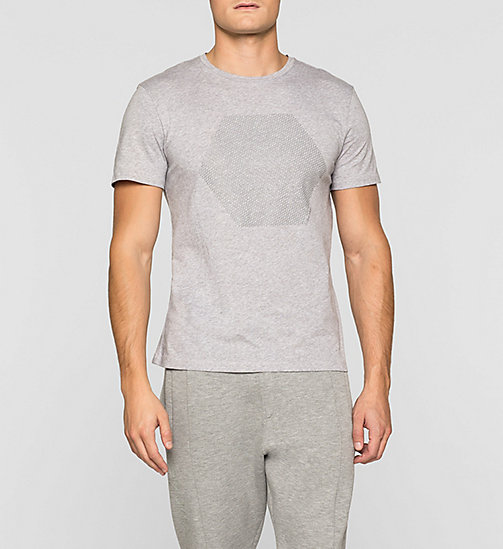 Fitted Embossed T-shirt - MEDIUM GREY - CALVIN KLEIN CLOTHES - main image
