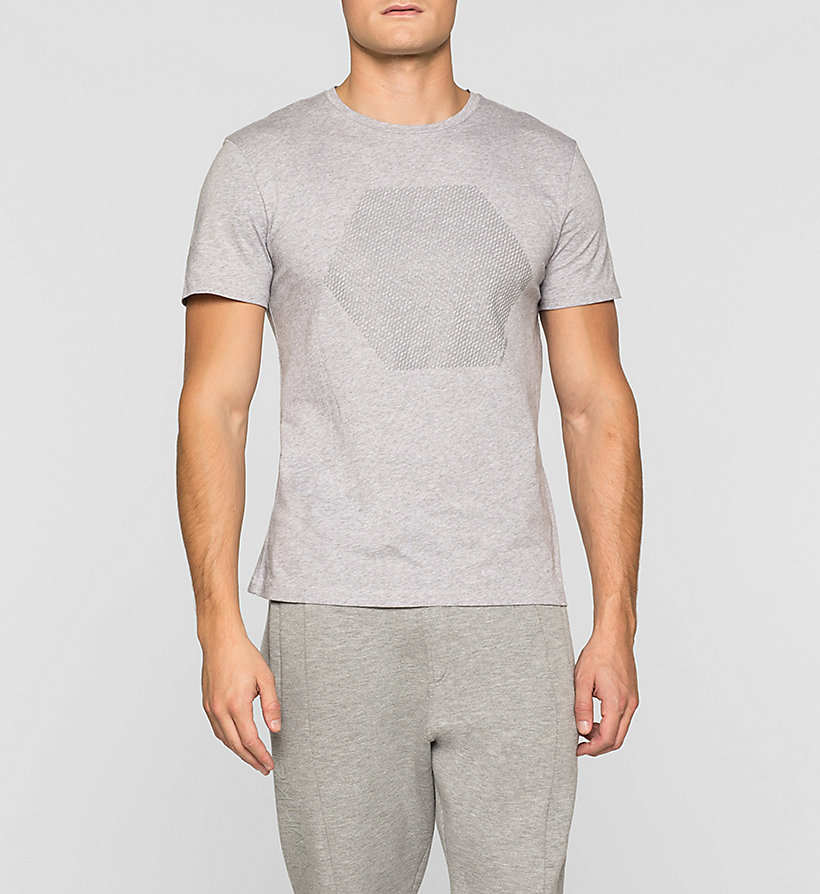 CALVINKLEIN Fitted Embossed T-shirt - MEDIUM GREY - CALVIN KLEIN CLOTHES - main image