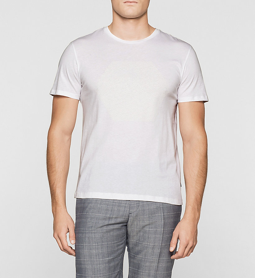 CALVINKLEIN Fitted Embossed T-shirt - PERFECT WHITE - CALVIN KLEIN CLOTHES - main image