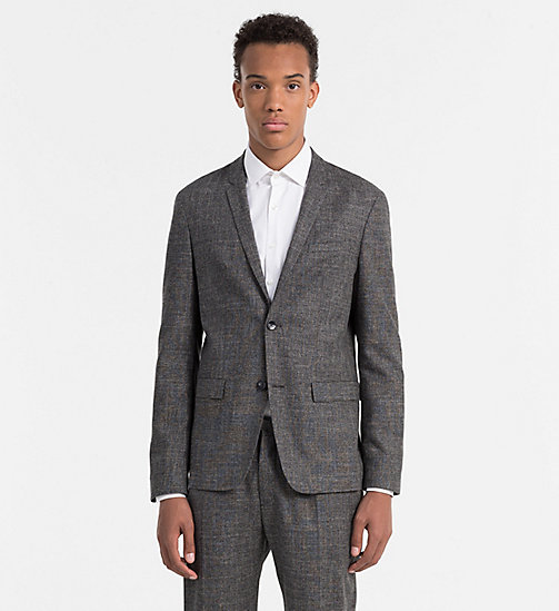 CALVINKLEIN Fitted Wool Linen Blazer - IRON - CALVIN KLEIN WORK TO WEEKEND - main image