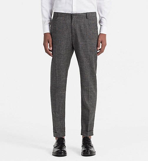 CALVINKLEIN Fitted Wool Linen Trousers - IRON - CALVIN KLEIN WORK TO WEEKEND - main image