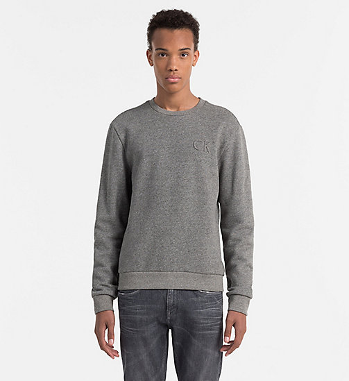 Felpa con logo in rilievo - MID GREY HEATHER - CALVIN KLEIN  - immagine principale