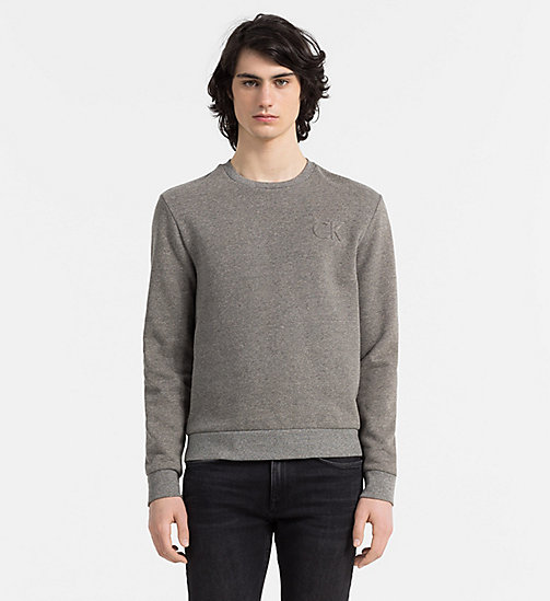 CALVINKLEIN Embossed Logo Sweatshirt - MID GREY HEATHER - CALVIN KLEIN JUMPERS - main image