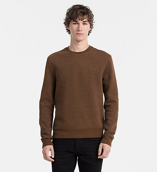 CALVINKLEIN Embossed Logo Sweatshirt - TOFFEE HEATHER - CALVIN KLEIN JUMPERS - main image