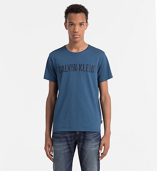 CALVINKLEIN Fitted Printed T-shirt - MAJOLICA BLUE - CALVIN KLEIN WORK TO WEEKEND - main image