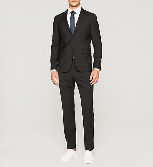 Slim Refined Wool Blazer - PERFECT BLACK - CALVIN KLEIN SUITS - detail image 1