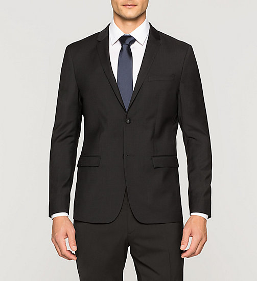 CALVINKLEIN Slim Refined Wool Blazer - PERFECT BLACK - CALVIN KLEIN SUITS - main image