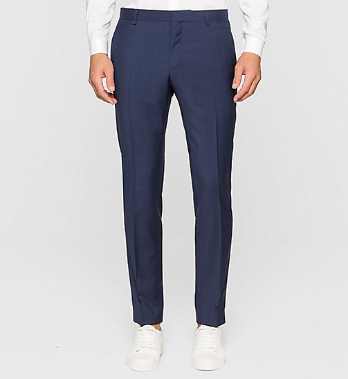 CALVINKLEIN Slim Refined Wool Trousers - INDIGO - CALVIN KLEIN TROUSERS & SHORTS - main image