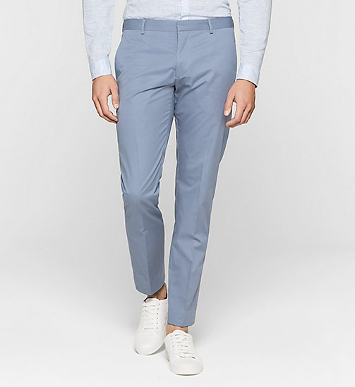 Fitted Cotton Twill Trousers - LIGHT VIOLET - CALVIN KLEIN  - main image
