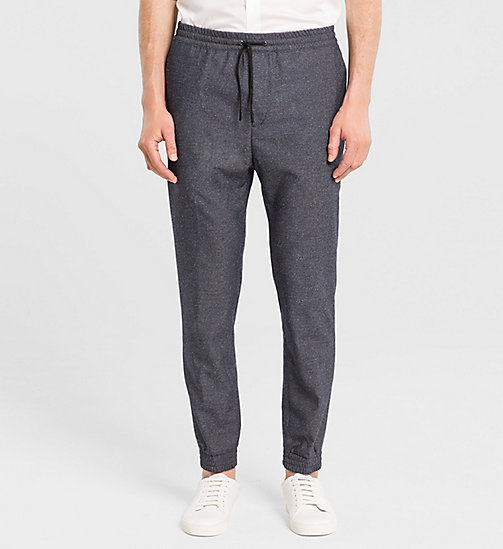 CALVINKLEIN Slim Wool Silk Trousers - TRUE NAVY - CALVIN KLEIN TROUSERS - main image