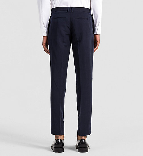 CALVINKLEIN Fitted Linen Chambray Trousers - TRUE NAVY - CALVIN KLEIN TROUSERS - detail image 1