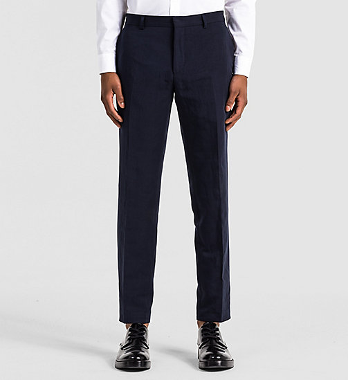 Fitted Linen Chambray Trousers - TRUE NAVY - CALVIN KLEIN  - main image