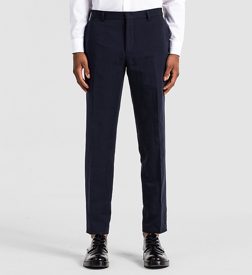 CALVINKLEIN Fitted Linen Chambray Trousers - TRUE NAVY - CALVIN KLEIN TROUSERS - main image