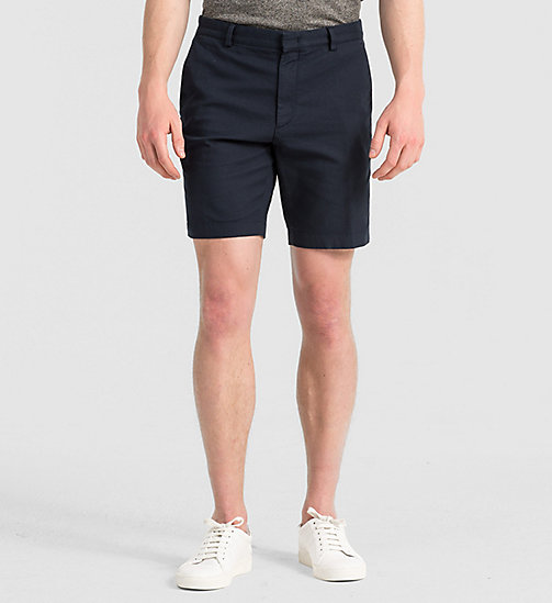 Fitted Cotton Stretch Shorts - TRUE NAVY - CALVIN KLEIN  - main image