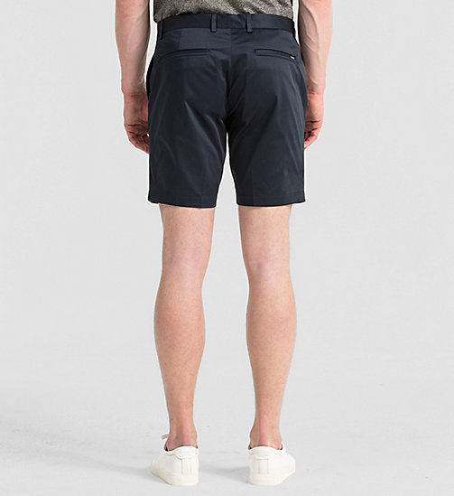 Fitted Cotton Stretch Shorts - TRUE NAVY - CALVIN KLEIN SHORTS - detail image 1