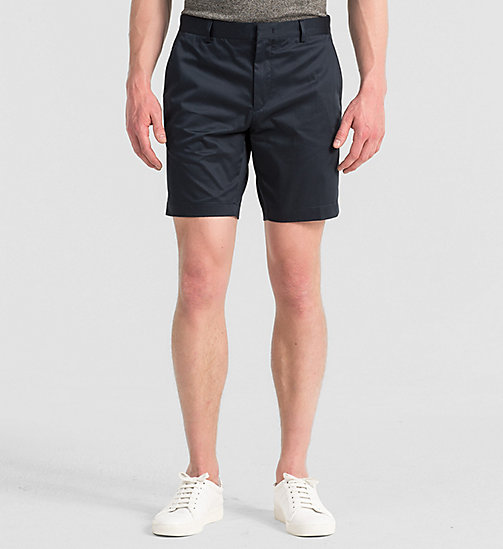 Fitted Cotton Stretch Shorts - TRUE NAVY - CALVIN KLEIN SHORTS - main image