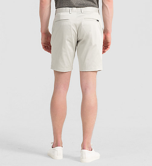 CALVINKLEIN Fitted Cotton Stretch Shorts - LIGHT ZINC - CALVIN KLEIN TROUSERS & SHORTS - detail image 1