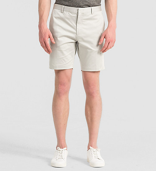 Fitted Cotton Stretch Shorts - LIGHT ZINC - CALVIN KLEIN  - main image