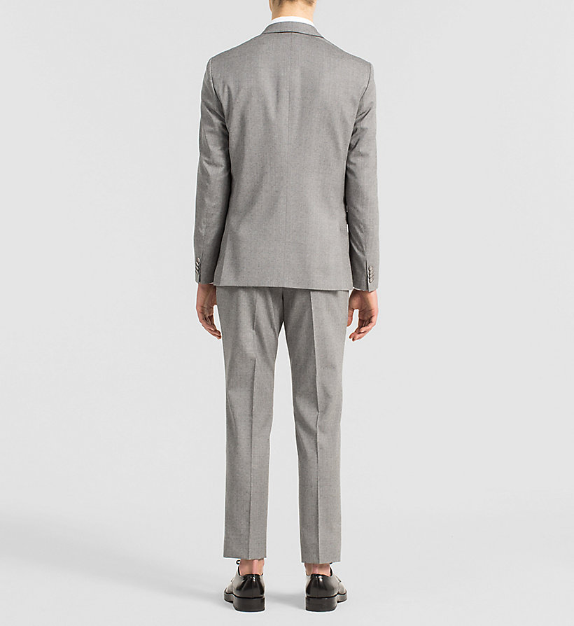 CALVINKLEIN Fitted Textured Wool Suit - MID GREY - CALVIN KLEIN SUITS - detail image 1