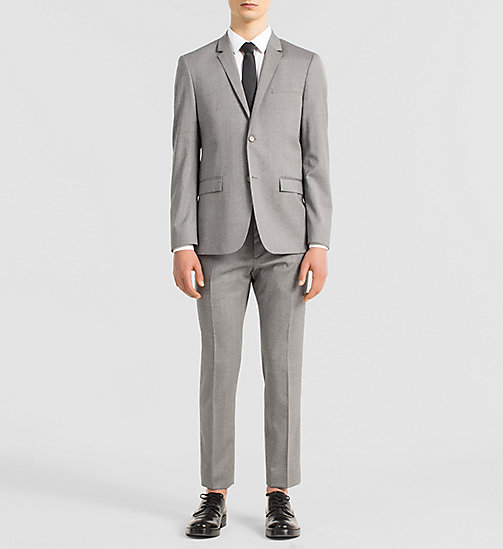 Fitted Textured Wool Suit - MID GREY - CALVIN KLEIN SUITS - main image