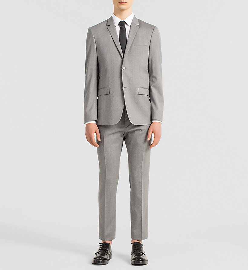 CALVINKLEIN Fitted Textured Wool Suit - MID GREY - CALVIN KLEIN SUITS - main image