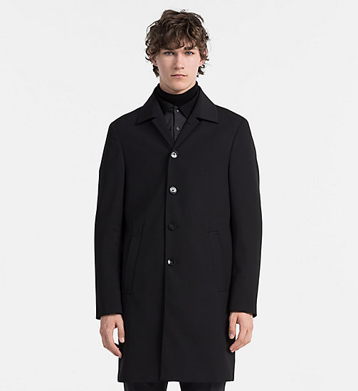CALVINKLEIN Techno Wool Coat - PERFECT BLACK - CALVIN KLEIN COATS - main image