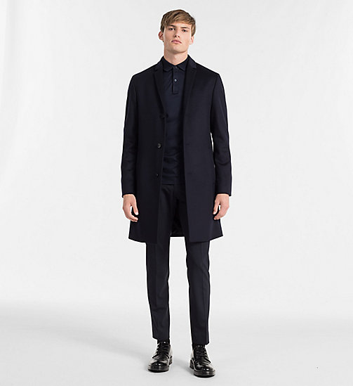 Wool Cashmere Coat - TRUE NAVY - CALVIN KLEIN CLOTHES - detail image 1