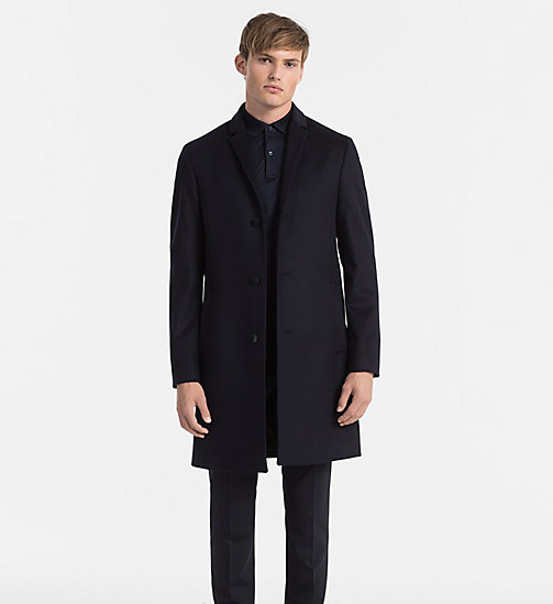 Wool Cashmere Coat - TRUE NAVY - CALVIN KLEIN CLOTHES - main image