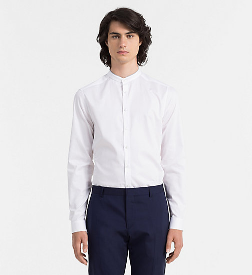 CALVINKLEIN Slim Textured Shirt - PERFECT WHITE - CALVIN KLEIN CLOTHES - main image