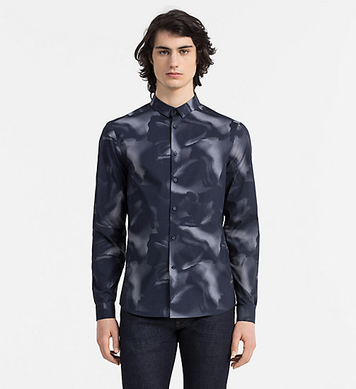 CALVINKLEIN Slim Printed Shirt - TRUE NAVY - CALVIN KLEIN CASUAL SHIRTS - main image