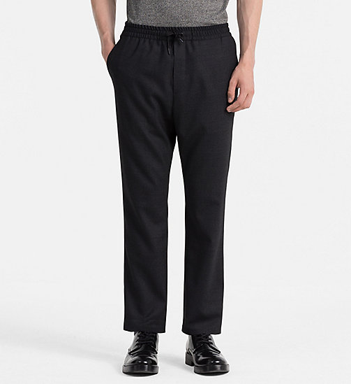 CALVINKLEIN Wool Flannel Trousers - PERFECT BLACK - CALVIN KLEIN TROUSERS - main image