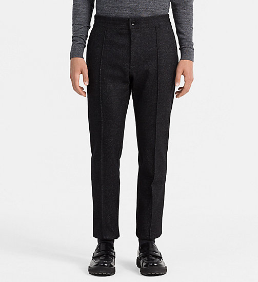 CALVINKLEIN Fitted Wool Blend Trousers - ANTHRACITE HEATHER - CALVIN KLEIN TROUSERS - main image