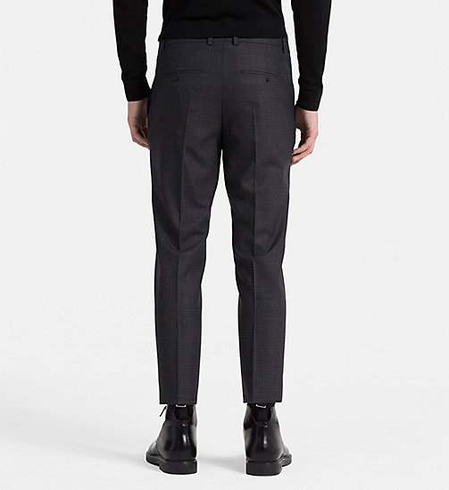 CALVINKLEIN Fitted Wool Check Trousers - ASPHALT - CALVIN KLEIN TROUSERS - detail image 1