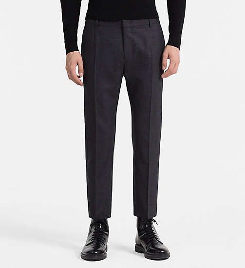 CALVINKLEIN Fitted Wool Check Trousers - ASPHALT - CALVIN KLEIN TROUSERS - main image