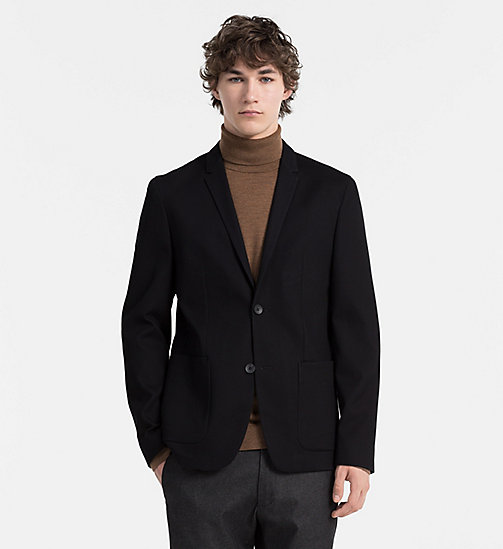 CALVINKLEIN Fitted Waffle Cotton Blazer - PERFECT BLACK - CALVIN KLEIN CLASSICS TO FALL FOR - main image