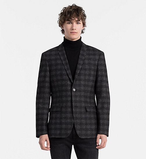 CALVINKLEIN Fitted Virgin Wool Check Blazer - ASPHALT - CALVIN KLEIN CLOTHES - main image