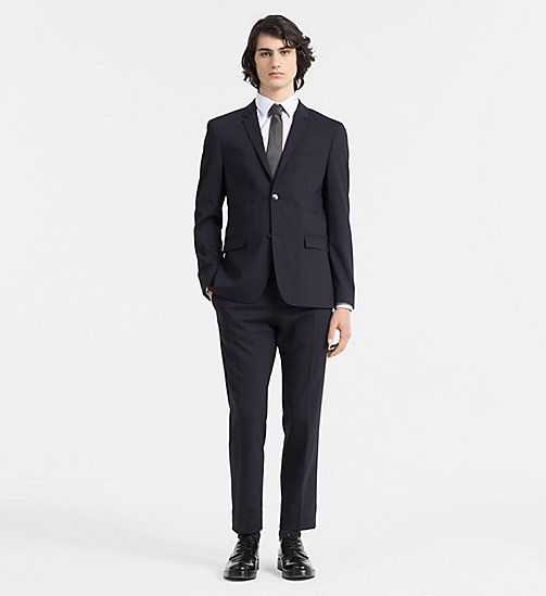 CALVINKLEIN Fitted Wool Check Suit - TRUE NAVY - CALVIN KLEIN MODERN CLASSIC - main image