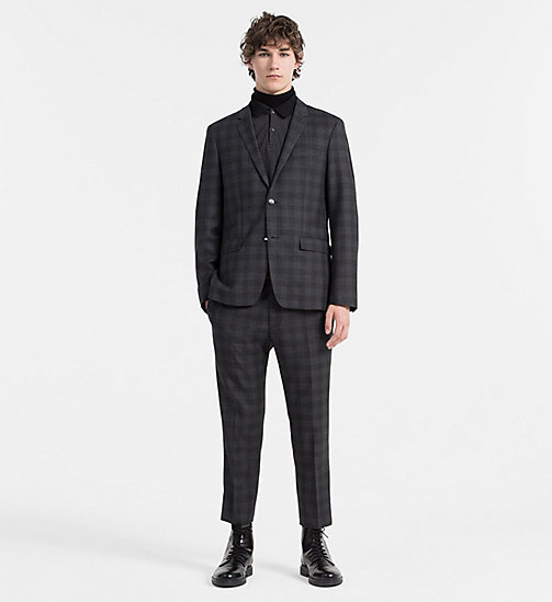 Fitted Wool Check Suit - ASPHALT - CALVIN KLEIN  - main image