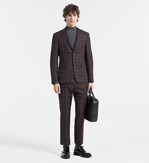 Fitted Wool Check Suit - ZINFANDEL - CALVIN KLEIN SUITS - main image
