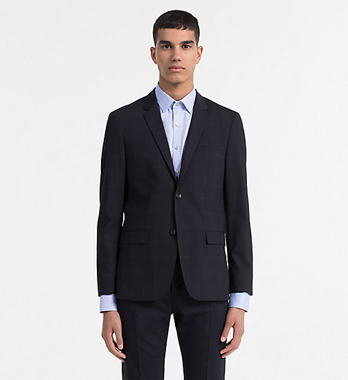 CALVINKLEIN Fitted Wool Stretch Blazer - TRUE NAVY - CALVIN KLEIN MODERN CLASSIC - main image