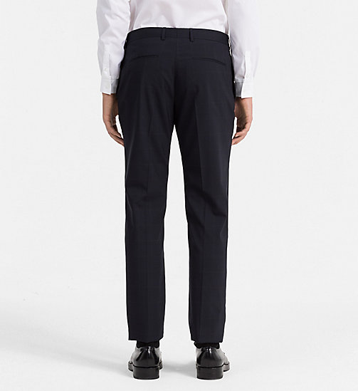 Fitted Wool Stretch Trousers - TRUE NAVY - CALVIN KLEIN SUITS - detail image 1